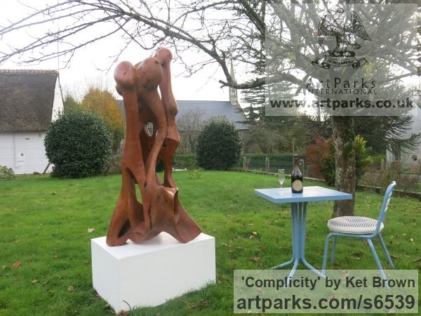 Bur elm Abstract Contemporary Modern Outdoor Outside Garden / Yard sculpture statuary sculpture by sculptor Ket Brown titled: 'Complicity' - Artwork View 4