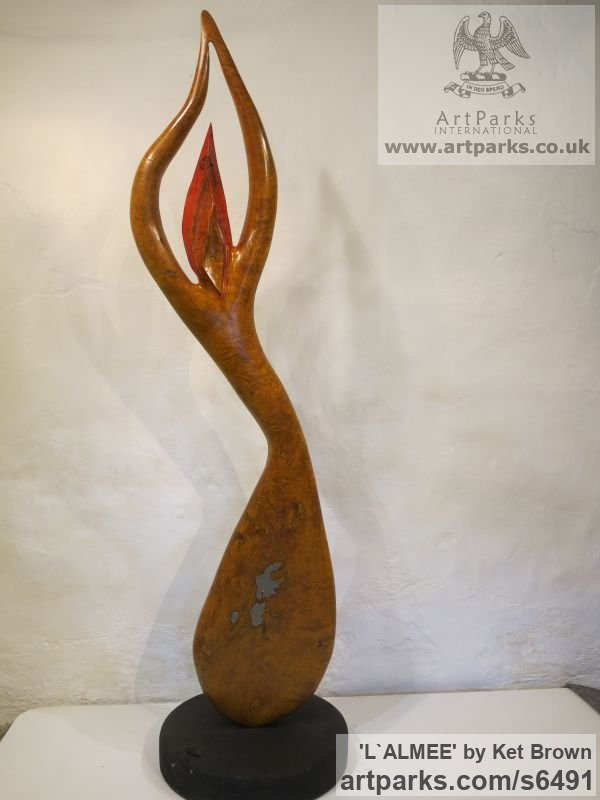 Ash bur Abstract Contemporary or Modern Outdoor Outside Exterior Garden / Yard sculpture statuary sculpture by sculptor Ket Brown titled: 'L`Almee' - Artwork View 3