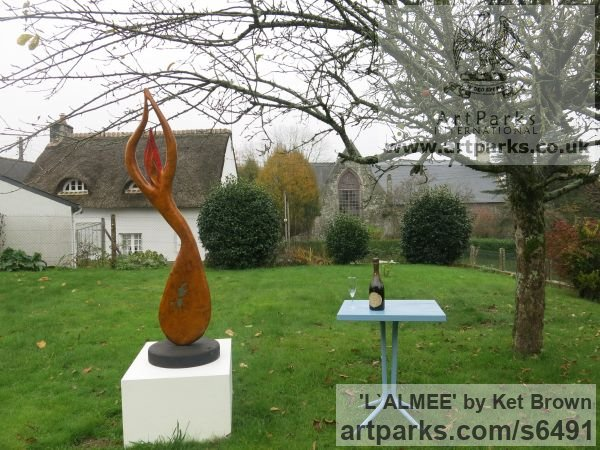 Ash bur Abstract Contemporary or Modern Outdoor Outside Exterior Garden / Yard sculpture statuary sculpture by sculptor Ket Brown titled: 'L`Almee' - Artwork View 4