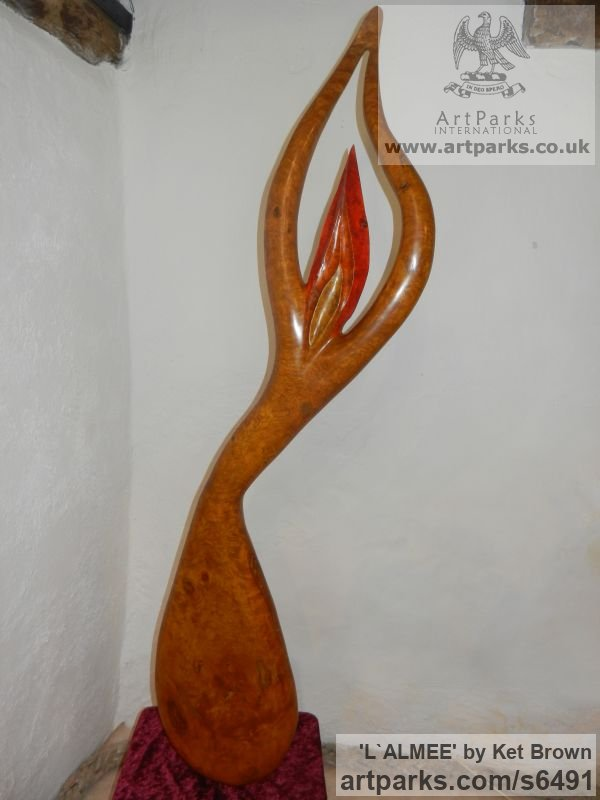 Ash bur Abstract Contemporary or Modern Outdoor Outside Exterior Garden / Yard sculpture statuary sculpture by sculptor Ket Brown titled: 'L`Almee' - Artwork View 5