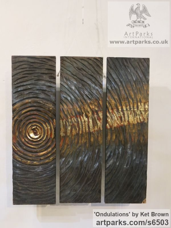 Oak Wall Mounted or Wall Hanging sculpture by sculptor Ket Brown titled: 'Ondulations (Ripples in the sunlight)' - Artwork View 2