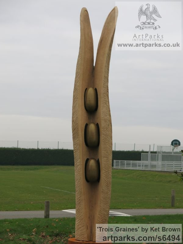 Oak Abstract Contemporary Modern Outdoor Outside Garden / Yard sculpture statuary sculpture by sculptor Ket Brown titled: 'Trois Graines (Three Seeds)' - Artwork View 2
