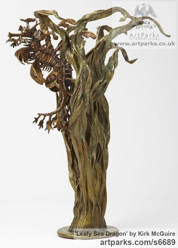 Bronze Abstract Fish sculpture by sculptor Kirk McGuire titled: 'Leafy Sea Dragon sculpture (With Seaweed)'