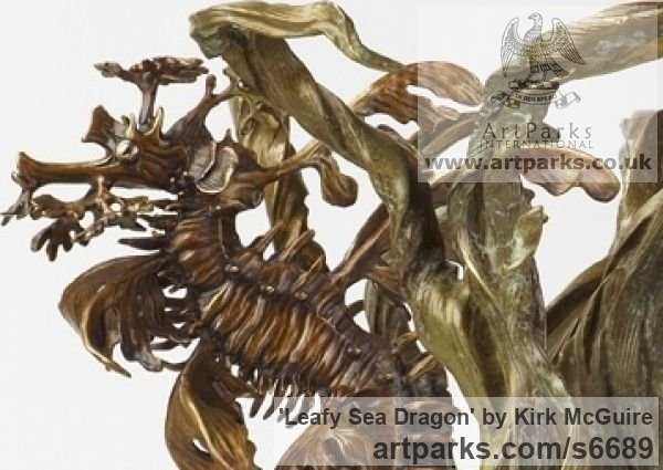 Bronze Abstract Fish sculpture by sculptor Kirk McGuire titled: 'Leafy Sea Dragon sculpture (With Seaweed)' - Artwork View 2