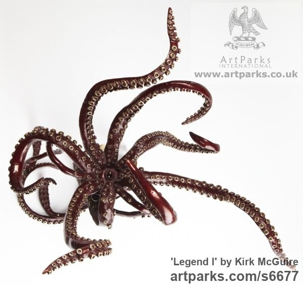 Bronze Predators Carnivores Hunters Flesh Eaters sculpture statuettes carvings sculpture by sculptor Kirk McGuire titled: 'Legend I (bronze Realistic Giant Squid sculpturette sculpture)' - Artwork View 2