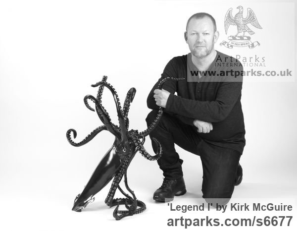 Bronze Predators Carnivores Hunters Flesh Eaters sculpture statuettes carvings sculpture by sculptor Kirk McGuire titled: 'Legend I (bronze Realistic Giant Squid sculpturette sculpture)' - Artwork View 5