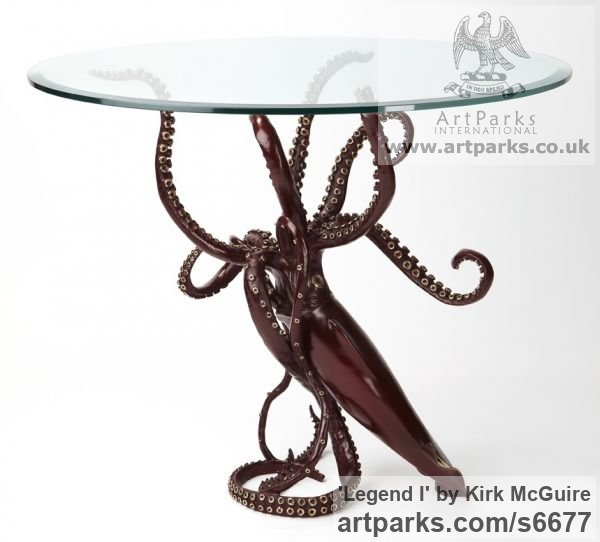 Bronze Predators Carnivores Hunters Flesh Eaters sculpture statuettes carvings sculpture by sculptor Kirk McGuire titled: 'Legend I (bronze Realistic Giant Squid sculpturette sculpture)' - Artwork View 4
