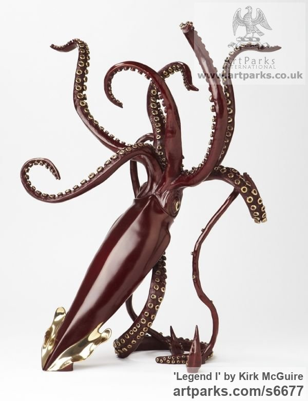 Bronze Predators Carnivores Hunters Flesh Eaters sculpture statuettes carvings sculpture by sculptor Kirk McGuire titled: 'Legend I (bronze Realistic Giant Squid sculpturette sculpture)'