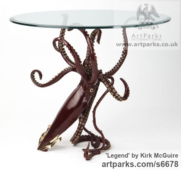 Bronze Marine Maritime Water Sea sculpture statuette sculpture by sculptor Kirk McGuire titled: 'Legend (Table version Bronze Squid sculpture/statues)' - Artwork View 1