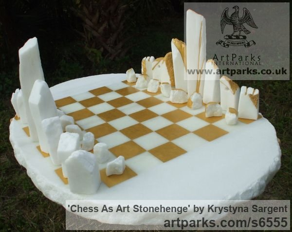 White Cararra marble Buildings, Structures and Parts Statues or sculpture by sculptor Krystyna Sargent titled: 'Chess as Art - Stone Henge (Carved marble statue)'