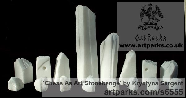 White Cararra marble Buildings, Structures and Parts Statues or sculpture by sculptor Krystyna Sargent titled: 'Chess as Art - Stone Henge (Carved marble statue)' - Artwork View 5