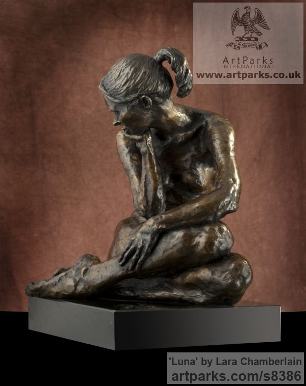 Bronze Little Small Nude or Naked Girls Women Ladies Females sculpture statuettes Figurines sculpture by sculptor Lara Chamberlain titled: 'Luna (small nude sitting female statuette)' - Artwork View 1