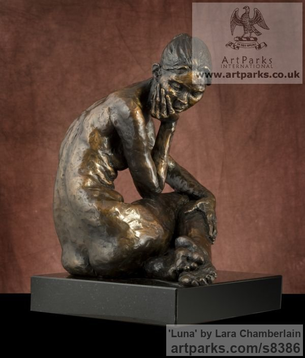 Bronze Little Small Nude or Naked Girls Women Ladies Females sculpture statuettes Figurines sculpture by sculptor Lara Chamberlain titled: 'Luna (small nude sitting female statuette)' - Artwork View 3