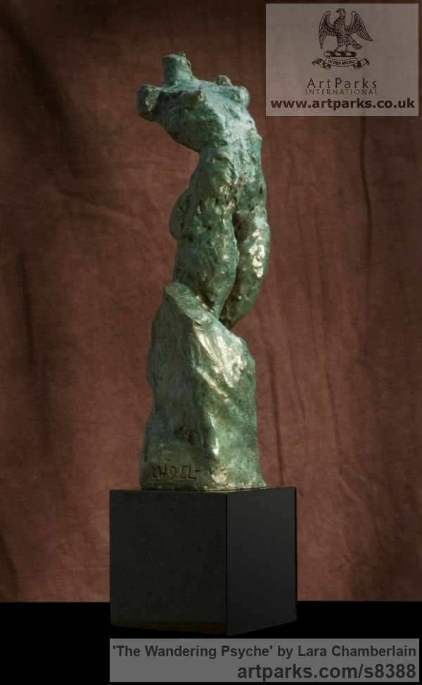 Bronze Little Small Nude or Naked Girls Women Ladies Females sculpture statuettes Figurines sculpture by sculptor Lara Chamberlain titled: 'The Wandering Psyche (small nude female torso statuette)'