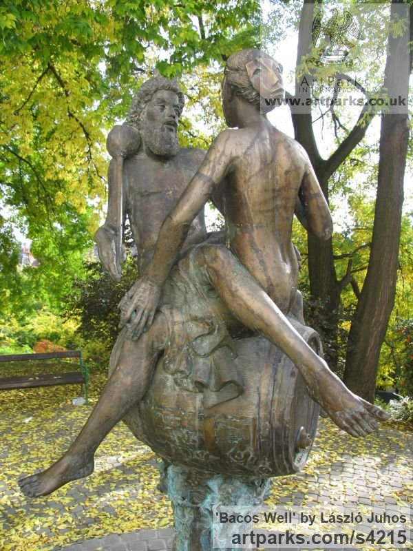 Bronze Garden Or Yard / Outside and Outdoor sculpture by sculptor L�szl� Juhos titled: 'Bacos Well (Lecherous Drunken nude Encounter statues)'