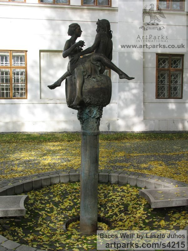 Bronze Garden Or Yard / Outside and Outdoor sculpture by sculptor L�szl� Juhos titled: 'Bacos Well (Lecherous Drunken nude Encounter statues)' - Artwork View 3