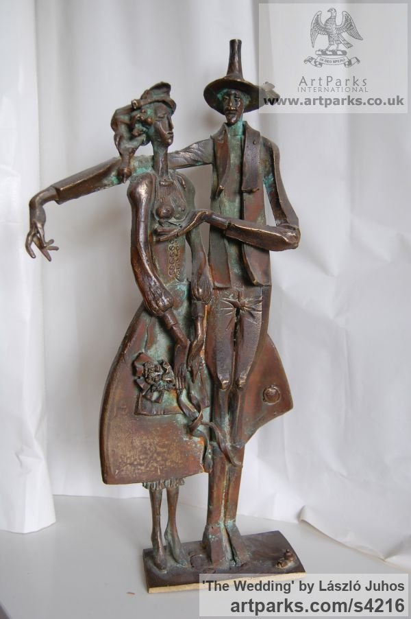 Bronze Females Women Girls Ladies sculpture statuettes figurines sculpture by sculptor László Juhos titled: 'The Wedding (Fun Naughty Couple Small sculpture)' - Artwork View 1