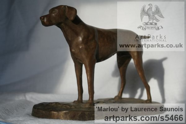 Bronze Dogs sculpture by sculptor Laurence Saunois titled: 'Marlou (Little Bronze French Pointer Dog statuettes/ornaments/figurine)' - Artwork View 2