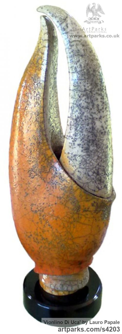 Argilla Animal Abstract Contemporary Modern Stylised Minimalist sculpture by sculptor Lauro Papale titled: 'Vionlino di Uca (Lobster or Crab Claw abstract/Modern statue/sculpture)' - Artwork View 1