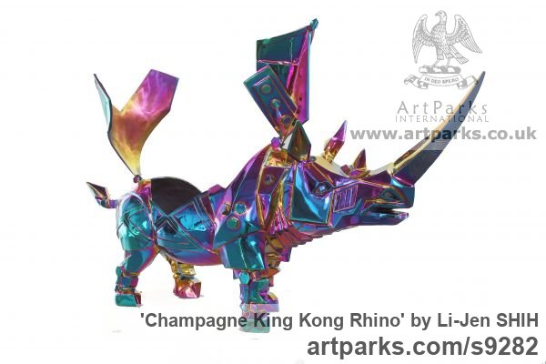 Stainless steel, transparent color coati Animal Abstract Contemporary Modern Stylised Minimalist sculpture by sculptor Li-Jen SHIH titled: 'Champagne King Kong Rhino (Indoor Tabletop statuette)' - Artwork View 2