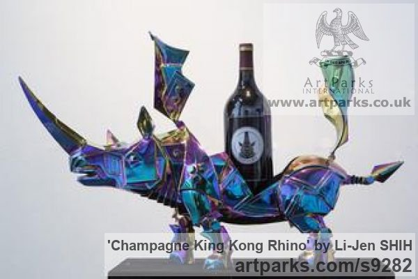 Stainless steel, transparent color coati Animal Abstract Contemporary Modern Stylised Minimalist sculpture by sculptor Li-Jen SHIH titled: 'Champagne King Kong Rhino (Indoor Tabletop statuette)' - Artwork View 5