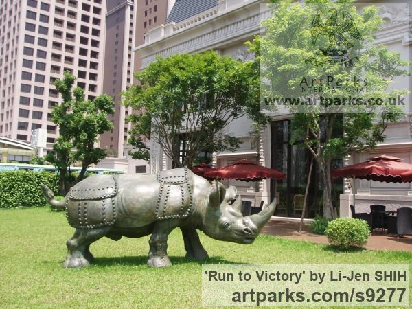 Bronze Garden Or Yard / Outside and Outdoor sculpture by sculptor Li-Jen SHIH titled: 'Run to Victory (life size Asian Rhino sculpture)'