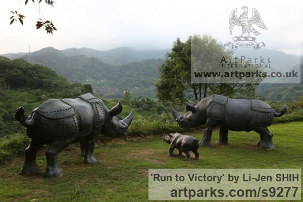 Bronze Garden Or Yard / Outside and Outdoor sculpture by sculptor Li-Jen SHIH titled: 'Run to Victory (life size Asian Rhino sculpture)' - Artwork View 3