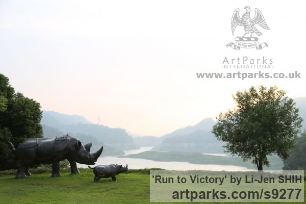 Bronze Garden Or Yard / Outside and Outdoor sculpture by sculptor Li-Jen SHIH titled: 'Run to Victory (life size Asian Rhino sculpture)' - Artwork View 4