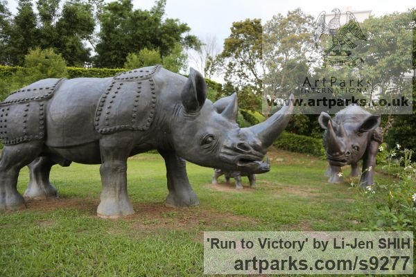 Bronze Garden Or Yard / Outside and Outdoor sculpture by sculptor Li-Jen SHIH titled: 'Run to Victory (life size Asian Rhino sculpture)' - Artwork View 5