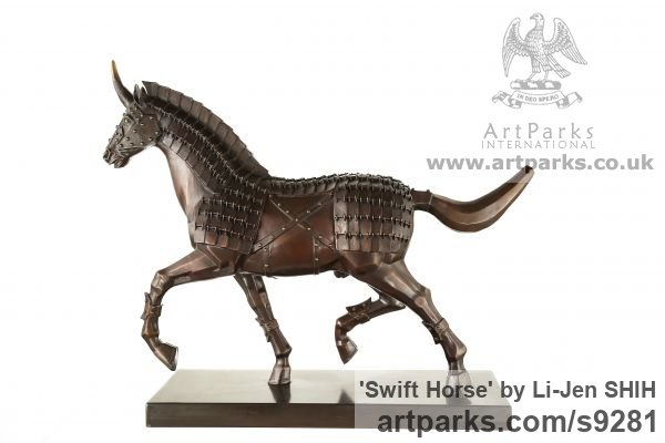 Bronze Horse Sculpture / Equines Race Horses Pack HorseCart Horses Plough Horsess sculpture by sculptor Li-Jen SHIH titled: 'Swift Horse (Trotting Mythical Ferghana Horse statuee)'
