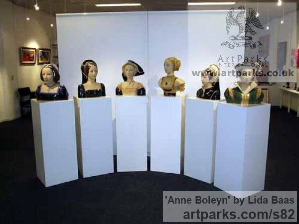 Stoneware, glazed & gilded Portrait Sculptures / Commission or Bespoke or Customised sculpture by sculptor Lida Baas titled: 'Anne Boleyn' - Artwork View 2