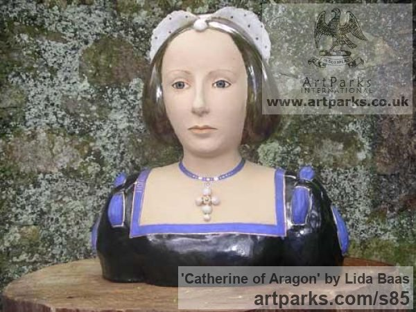 Stoneware, glazed & gilded Portrait Sculptures / Commission or Bespoke or Customised sculpture by sculptor Lida Baas titled: 'Catherine of Aragon' - Artwork View 1
