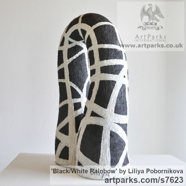 Ceramics and porcelain Abstract Loop Indoor and Outside Sculptures / Statues / statuettes sculpture by sculptor Liliya Pobornikova titled: 'Black/white Rainbow (Small ceramic abstract Modern Indoor statuettes)' - Artwork View 5