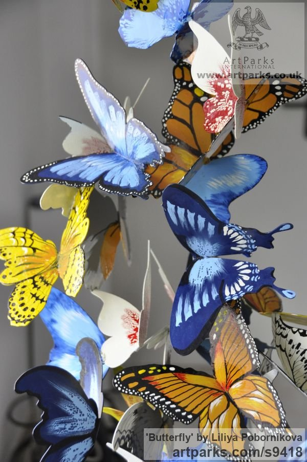 Metal Insect Sculptures, to include Bees, Ants, Moths, Butterflies etc sculpture by sculptor Liliya Pobornikova titled: 'Butterfly (Colourful Swarm Indoor sculptures)' - Artwork View 2