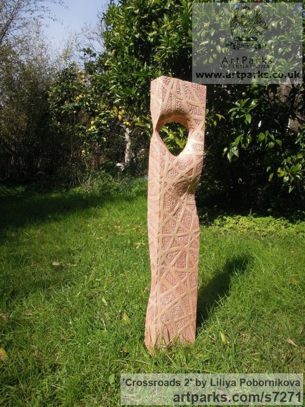 Pine wood Garden Or Yard / Outside and Outdoor sculpture by sculptor Liliya Pobornikova titled: 'Crossroads 2 (Simplistic Wood Stele Column statue)' - Artwork View 2
