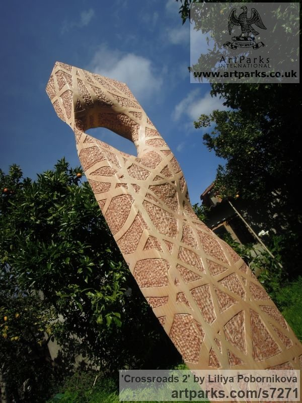 Pine wood Garden Or Yard / Outside and Outdoor sculpture by sculptor Liliya Pobornikova titled: 'Crossroads 2 (Simplistic Wood Stele Column statue)' - Artwork View 3