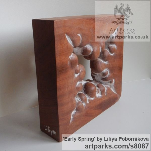 Wood sculpture Carved Abstract Contemporary Modern sculpture carving sculpture by sculptor Liliya Pobornikova titled: 'Early Spring (Carved Small Square Modern statue)'
