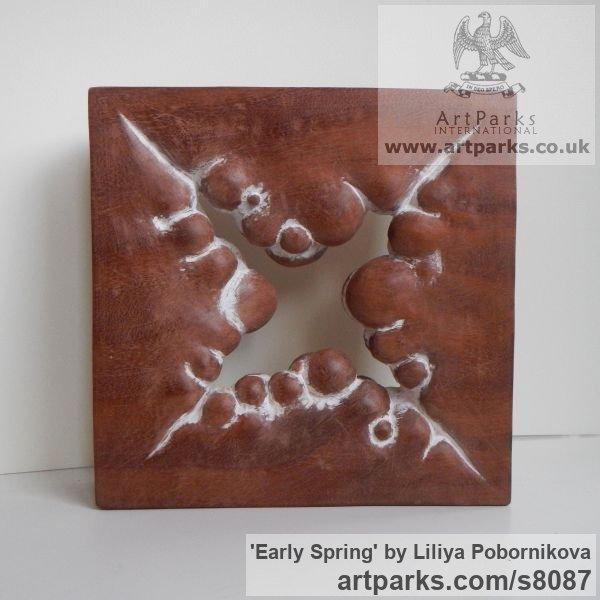 Wood sculpture Carved Abstract Contemporary Modern sculpture carving sculpture by sculptor Liliya Pobornikova titled: 'Early Spring (Carved Small Square Modern statue)' - Artwork View 2