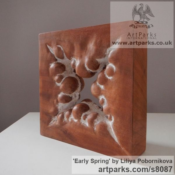 Wood sculpture Carved Abstract Contemporary Modern sculpture carving sculpture by sculptor Liliya Pobornikova titled: 'Early Spring (Carved Small Square Modern statue)' - Artwork View 3