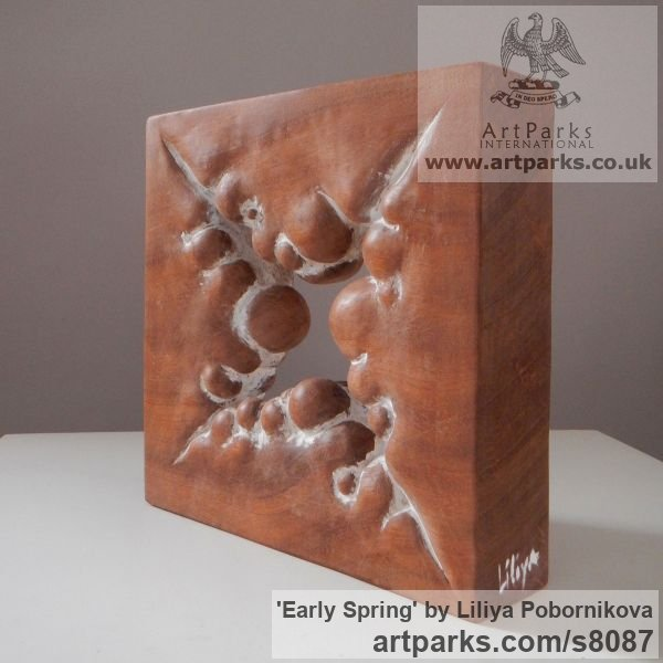 Wood sculpture Carved Abstract Contemporary Modern sculpture carving sculpture by sculptor Liliya Pobornikova titled: 'Early Spring (Carved Small Square Modern statue)' - Artwork View 4