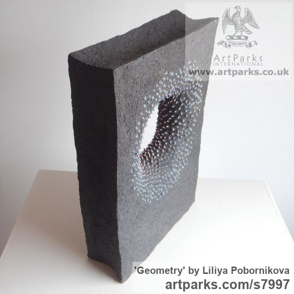 Black clay and colored porcelain Angular Abstract Modern Contemporary sculpture statuary sculpture by sculptor Liliya Pobornikova titled: 'Geometry' - Artwork View 3