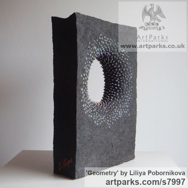 Black clay and colored porcelain Angular Abstract Modern Contemporary sculpture statuary sculpture by sculptor Liliya Pobornikova titled: 'Geometry' - Artwork View 5