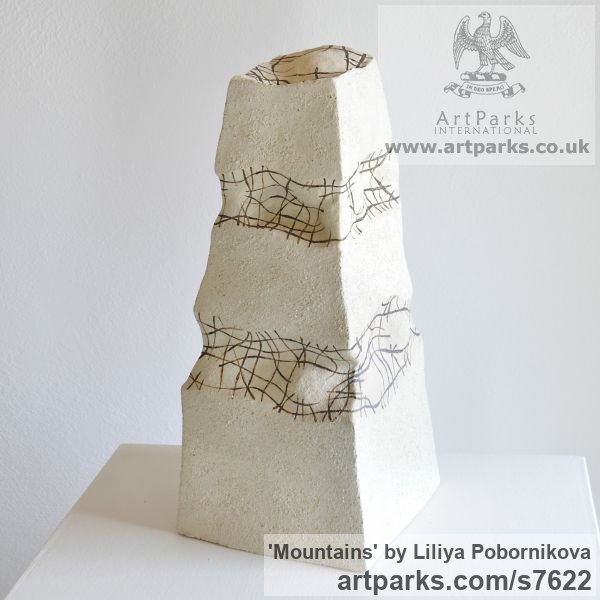 Ceramics Column Pillar Columnar Stele sculpture statuary sculpture by sculptor Liliya Pobornikova titled: 'Mountains (Minimalist Contemporary abstract Small Indoor sculpture)'