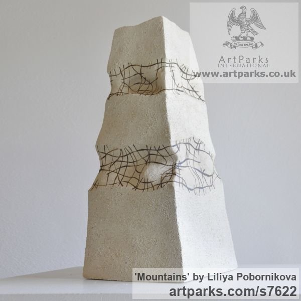 Ceramics Column Pillar Columnar Stele sculpture statuary sculpture by sculptor Liliya Pobornikova titled: 'Mountains (Minimalist Contemporary abstract Small Indoor sculpture)' - Artwork View 2
