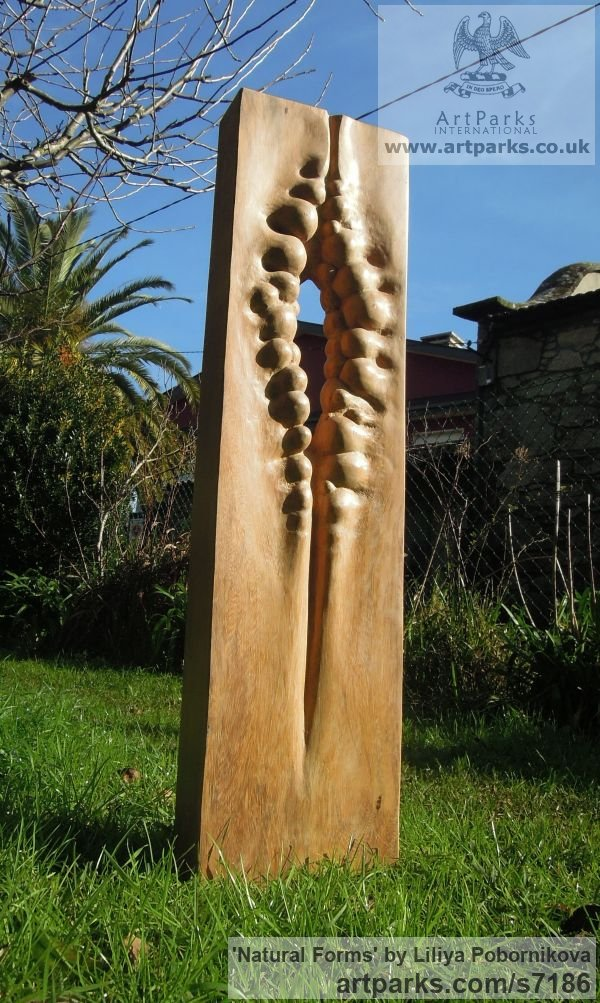Wood sculpture Carved Abstract Contemporary Modern sculpture carving sculpture by sculptor Liliya Pobornikova titled: 'Natural Forms (Tall Carved Small garden statue)' - Artwork View 4