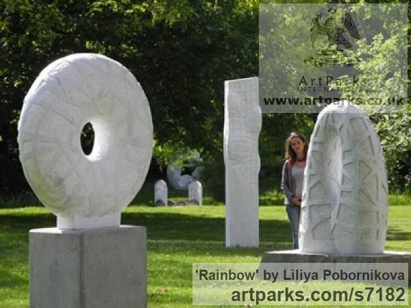 Marble sculpture Garden Or Yard / Outside and Outdoor sculpture by sculptor Liliya Pobornikova titled: 'Rainbow (marble abstract Arch Carving garden Outdoor sculpture)' - Artwork View 2