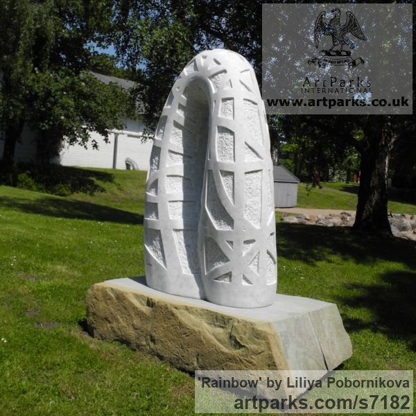 Marble sculpture Garden Or Yard / Outside and Outdoor sculpture by sculptor Liliya Pobornikova titled: 'Rainbow (marble abstract Arch Carving garden Outdoor sculpture)' - Artwork View 4