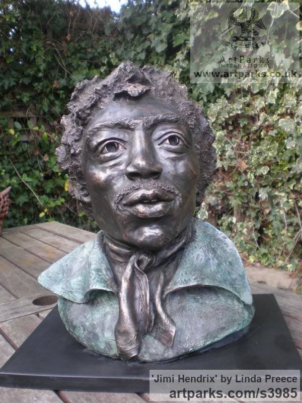 Bronze Resin. Available as foundry bronze POA Portrait Sculptures / Commission or Bespoke or Customised sculpture by sculptor Linda Preece titled: 'Jimi Hendrix (Bust Head Portrait Face sculpture)'