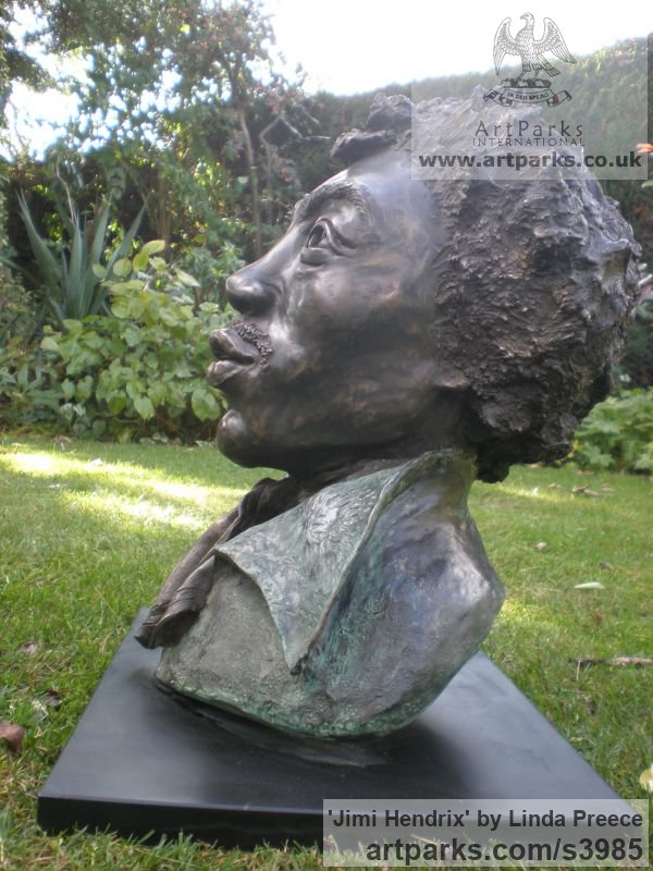 Bronze Resin. Available as foundry bronze POA Portrait Sculptures / Commission or Bespoke or Customised sculpture by sculptor Linda Preece titled: 'Jimi Hendrix (Bust Head Portrait Face sculpture)' - Artwork View 4