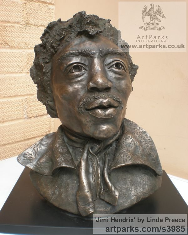 Bronze Resin. Available as foundry bronze POA Portrait Sculptures / Commission or Bespoke or Customised sculpture by sculptor Linda Preece titled: 'Jimi Hendrix (Bust Head Portrait Face sculpture)' - Artwork View 2
